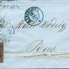 Sellos: CARTA CIRCULADA EN 1855 DE BARCELONA A REUS. Lote 277193193