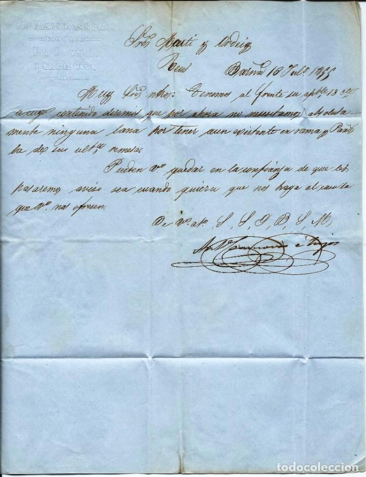 Sellos: Carta circulada en 1855 de Barcelona a Reus - Foto 3 - 277193193