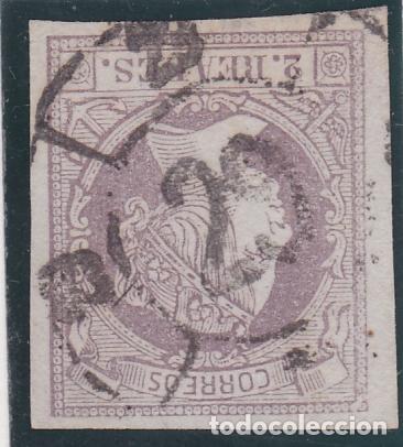 ESPAÑA.- Nº 56 ISABEL SEGUNDA 2 REALES CON MATASELLO RUEDA DE CARRETA 29 DE HUESCA NEGRO DE LUJO (Sellos - España - Isabel II de 1.850 a 1.869 - Usados)