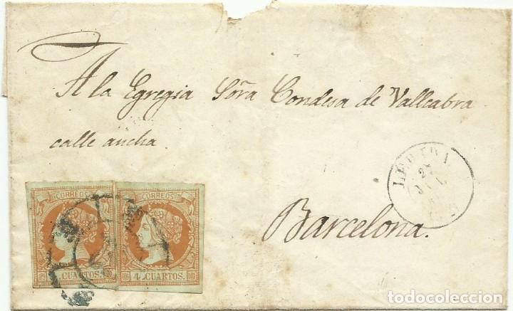 27/07/1861. LÉRIDA A BARCELONA, EDIFIL 52 (X2) MATASELLOS RUEDA CARRETA 32 COLOR AZUL LÉRIDA (Sellos - España - Isabel II de 1.850 a 1.869 - Cartas)