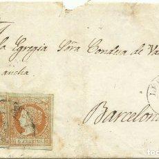 Sellos: 27/07/1861. LÉRIDA A BARCELONA, EDIFIL 52 (X2) MATASELLOS RUEDA CARRETA 32 COLOR AZUL LÉRIDA. Lote 277253028