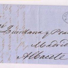 Sellos: CARTA ENTERA. ZARAGOZA A ALBACETE. 1857. Lote 277534388