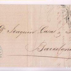 Sellos: CARTA ENTERA. MÁLAGA. 1868. FECHADOR Y PARRILLA CON CIFRA. Lote 277537733