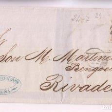 Sellos: ENVUELTA. CORUÑA. 1868. PARRILLA CON CIFRA. GALICIA. A RIBADEO. Lote 277658418