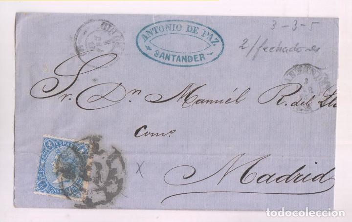 ENVUELTA. SANTANDER, CANTABRIA. 1865. RUEDA DE CARRETA (Sellos - España - Isabel II de 1.850 a 1.869 - Cartas)