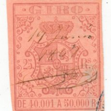 Sellos: SELLO FISCAL GIRO 25 REALES DE 40001 A 50000 REALES. ISABEL II. Lote 279379248
