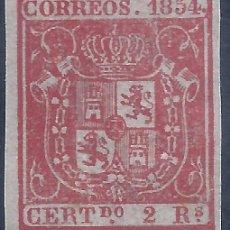 Sellos: EDIFIL 25 ESCUDO DE ESPAÑA. AÑO 1854. FONDO COLOREADO. FALSO FILATÉLICO.. Lote 283016158