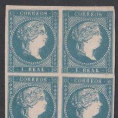 Sellos: ESPAÑA, 1855 EDIFIL Nº 49 (*), 1 R. AZUL, BLOQUE DE CUATRO. Lote 284243768