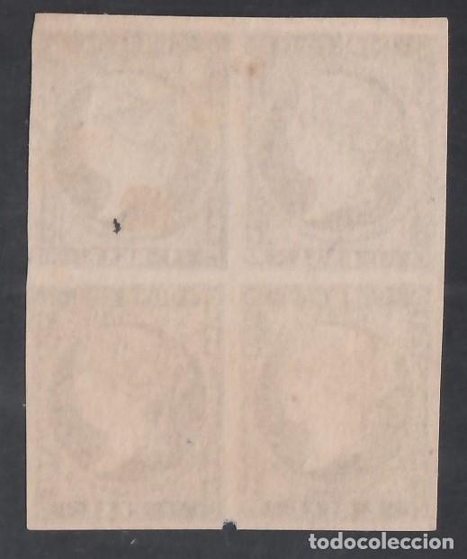 Sellos: ESPAÑA, 1855 EDIFIL Nº 49 (*), 1 r. azul, Bloque de Cuatro - Foto 2 - 284243768