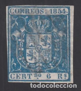 ESPAÑA. 1854 EDIFIL Nº 27, 6 R. AZUL (Sellos - España - Isabel II de 1.850 a 1.869 - Usados)
