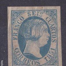 Timbres: BB6- CLÁSICOS 1851. PRUEBA 6 CUARTOS AZUL FALSO FILATELICO BOBES* CON FIJASELLOS. Lote 286918583