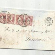 Sellos: CIRCULADA Y ESCRITA VENTA FABRICA DE HARINAS 1858 DE VALLADOLID A SANTANDER RUEDA DE CARRETA. Lote 287262618