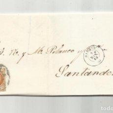 Sellos: CIRCULADA Y ESCRITA 1860 DE MADRID A SANTANDER RUEDA CARRETA. Lote 287265483