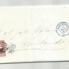Sellos: CIRCULADA Y ESCRITA NEGOCIOS HARINA 1858 DE BARCELONA A SANTANDER FECHADOR AZUL. Lote 287266653