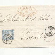 Sellos: CIRCULADA 1866 DE BANCO DE JEREZ A CADIZ. Lote 287309963