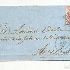 Sellos: CIRCULADA 1858 DE HUELVA A FABRICA DE VIDRIO DE AVILES FECHADOR AZUL. Lote 287310453