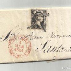 Sellos: CIRCULADA Y ESCRITA NEGOCIOS TRIGO 1851 DE REINOSA A SANTANDER. Lote 287311823