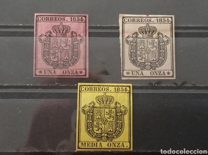 ESPAÑA. 1854. MEDIA ONZA Y UNA ONZA DOS TONOS. EDIFIL 28 Y 29. NUEVOS * (Sellos - España - Isabel II de 1.850 a 1.869 - Nuevos)