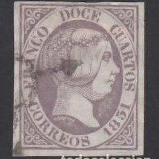 Sellos: ESPAÑA, 1851 EDIFIL Nº 7, 12 CU. LILA,. Lote 288014363