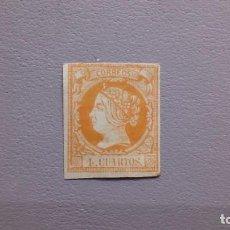 Sellos: ESPAÑA - 1860-61 - ISABEL II - EDIFIL 52 - MH* - NUEVO CON GOMA Y FIJASELLOS.. Lote 288032793