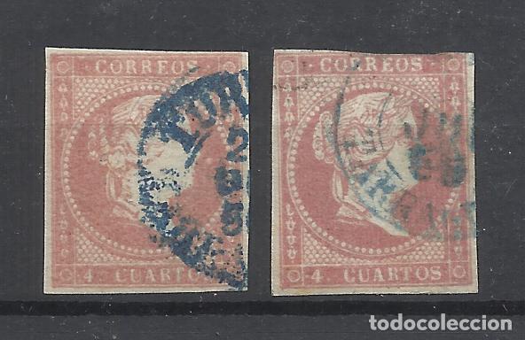 ISABEL II FECHADOR TORTOSA TARRAGONA EN AZUL (Sellos - España - Isabel II de 1.850 a 1.869 - Usados)