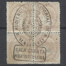 Sellos: ISABEL II EDIFIL SECRETARIA SALA 4 AUDIENCIA TERRITORIAL DE MADRID BLOQUE DE 4. Lote 288479233