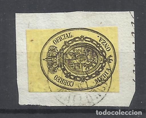 ESCUDO DE ESPAÑA FECHADOR MALLORCA SOBRE FRAGMENTO (Sellos - España - Isabel II de 1.850 a 1.869 - Usados)