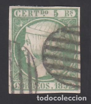 ESPAÑA, 1852 EDIFIL Nº 15, 5 R. VERDE (Sellos - España - Isabel II de 1.850 a 1.869 - Usados)