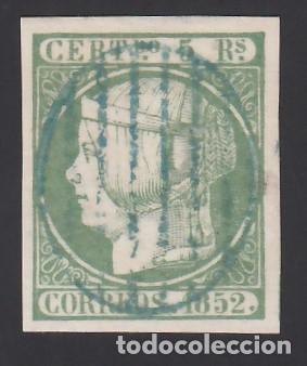 ESPAÑA, 1852 EDIFIL Nº 15, 5 R. VERDE, MAT. PARRILLA COLOR AZUL. ( PIEZA DE LUJO.) (Sellos - España - Isabel II de 1.850 a 1.869 - Usados)