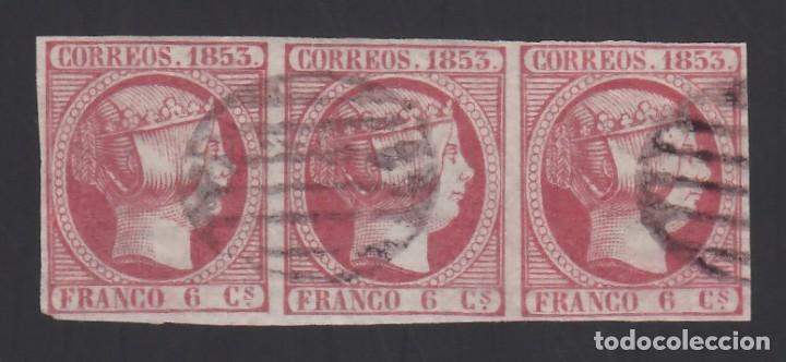 ESPAÑA, 1853 EDIFIL Nº 17, 6 CU. ROSA, TRIADA DE TRES SELLOS (Sellos - España - Isabel II de 1.850 a 1.869 - Usados)