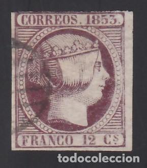 ESPAÑA, 1853 EDIFIL Nº 18, 12 CU. VIOLETA (Sellos - España - Isabel II de 1.850 a 1.869 - Usados)