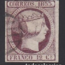Sellos: ESPAÑA, 1853 EDIFIL Nº 18, 12 CU. VIOLETA. Lote 288569693
