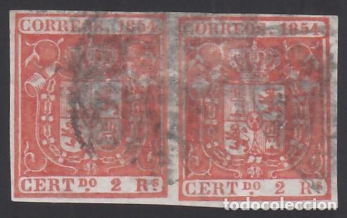 ESPAÑA, 1854 EDIFIL Nº 25, 2 R. ROJO, PAREJA. (Sellos - España - Isabel II de 1.850 a 1.869 - Usados)
