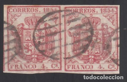 ESPAÑA, 1854 EDIFIL Nº 33, 4 CU. CARMÍN, PAREJA. (Sellos - España - Isabel II de 1.850 a 1.869 - Usados)
