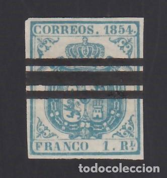ESPAÑA, 1854 EDIFIL Nº 34AS. 1 R. AZUL CLARO (Sellos - España - Isabel II de 1.850 a 1.869 - Usados)