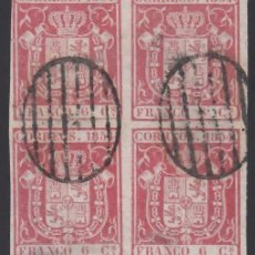 Sellos: ESPAÑA, 1854 EDIFIL Nº 24, 6 CU. CARMÍN, BLOQUE DE CUATRO.. Lote 288573178