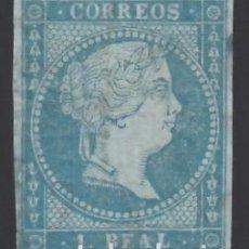 Sellos: ESPAÑA, 1855 EDIFIL Nº 41 /*/, 1 R. AZUL VERDOSO. Lote 288649908