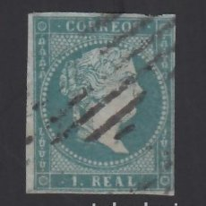 Sellos: ESPAÑA, 1855 EDIFIL Nº 41ID, 1 R. AZUL VERDOSO, FILIGRANA DESPLAZADA.. Lote 288652818