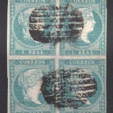 Sellos: ESPAÑA, 1855 EDIFIL Nº 45, 1 R AZUL VERDOSO, BLOQUE DE CUATRO.. Lote 288706983