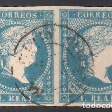 Sellos: ESPAÑA, 1855 EDIFIL Nº 49, 1 R. AZUL. MAT. FECHADOR. PAREJA.. Lote 288724093