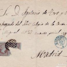 Sellos: CARTA DE BARCELONA A MADRID CON SELLO Nº 40 MATASELLO PARRILLA EN SOBRE MODERNO.. Lote 289238633