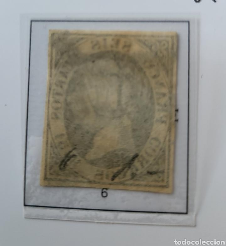 Sellos: Sello de España 1851 Isabel II Seis Cuartos Edifil 6 usado - Foto 2 - 289617258