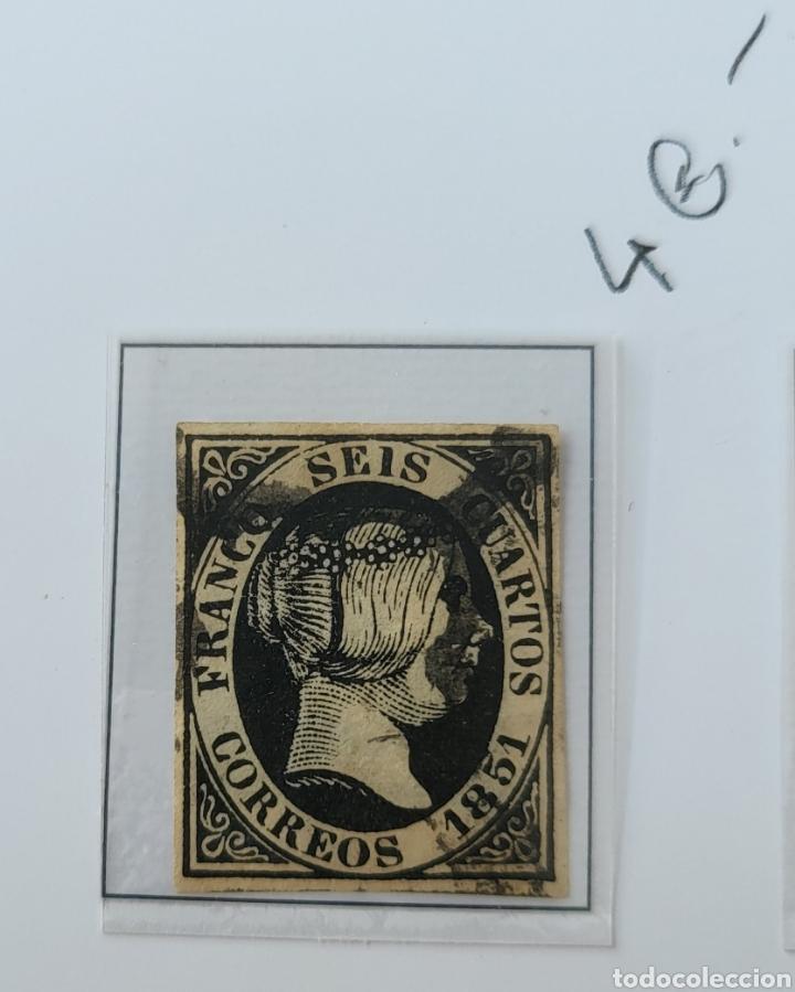 SELLO DE ESPAÑA 1851 ISABEL II SEIS CUARTOS EDIFIL 6 USADO (Sellos - España - Isabel II de 1.850 a 1.869 - Usados)