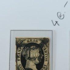 Sellos: SELLO DE ESPAÑA 1851 ISABEL II SEIS CUARTOS EDIFIL 6 USADO. Lote 289617258