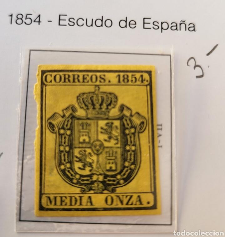 SELLO DE ESPAÑA 1954 ESCUDO DE ESPAÑA MEDIA ONZA EDIFIL 28 NUEVO (Sellos - España - Isabel II de 1.850 a 1.869 - Usados)