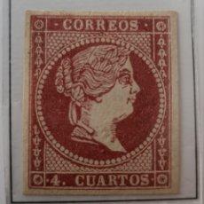 Sellos: SELLO DE ESPAÑA 1856-57 ISABEL II 4 CUARTOS EDIFIL 48 NUEVO. Lote 289627958