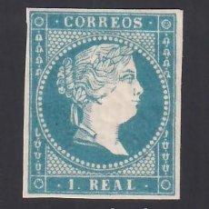 Sellos: ESPAÑA, 1855 EDIFIL Nº 49 /**/, 1 R. AZUL. Lote 289759108
