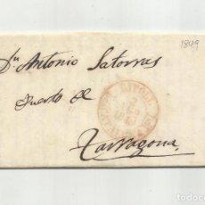 Sellos: CIRCULADA Y ESCRITA SOBRE MINAS DE HIERRO COBRE Y PLATA 1849 DE RIPOLL A TARRAGONA. Lote 293417198
