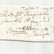 Sellos: CIRCULADA Y ESCRITA EN CATALAN 1806 DE BELLVIS X BERGA Y X TARREGA A BARCELONA. Lote 293422123