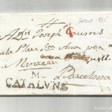 Sellos: CIRCULADA Y ESCRITA EN CATALAN 1835 DE SALLENT A BARCELONA. Lote 293464063